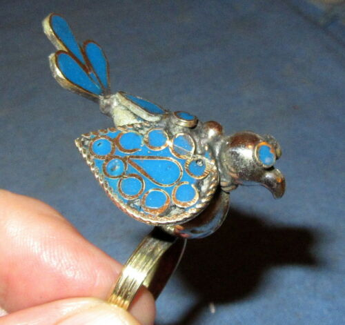 Ring Size 8 Gemstone Bird Afghan Kuchi Tribal Alpaca Silver