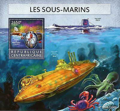 Central African Republic 2015 MNH Submarines 1v S/S Nautilus Captain Nemo Stamps