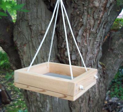 Mini Cedar Hanging Platform Screen Bird Feeder, w/ Nylon Ropes