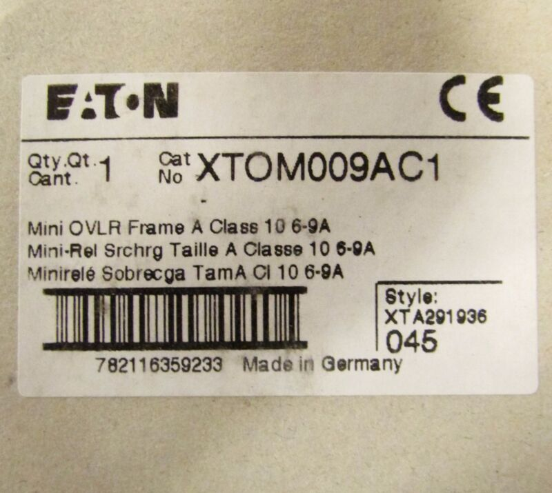 EATON Miniature Overload Relay 6-9 Amp XTOM009AC1