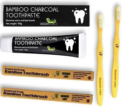 Bamboo Charcoal Toothpaste Charcoal teeth whitening 2 Bamboo Toothbrush Dental