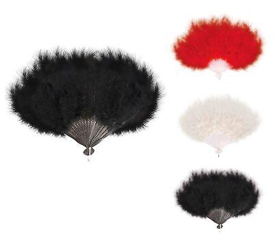 Federfächer Rot Weiß  Schwarz echten Federn Handfächer Kostüme Fasching Karneval