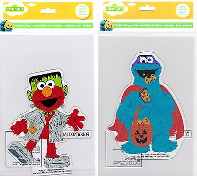 Sesame Street Muppets Elmo and Cookie Monster Halloween Window Gel Clings - Cookie Monster And Cookie Halloween
