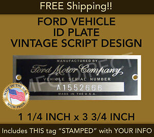FORD SERIAL NUMBER PLATE MODEL A T (STAMPED) DATA TAG VEHICLE IDENTIFICATION USA