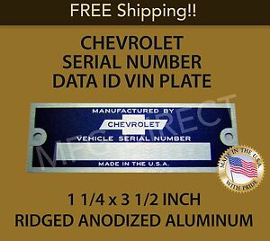 NEW BLANK CHEVROLET SERIAL NUMBER TAG DATA PLATE CHEVY ID VIN IDENTIFICATION