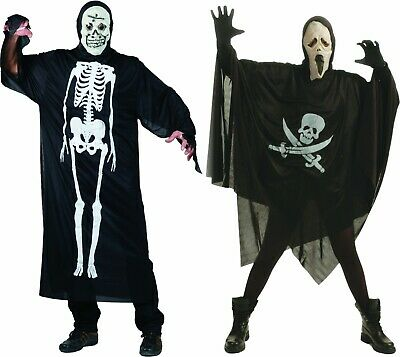 Kostüm Umhang mit Maske Totenkopf od Skelett Kutte Halloweenkostüm Karneval ()