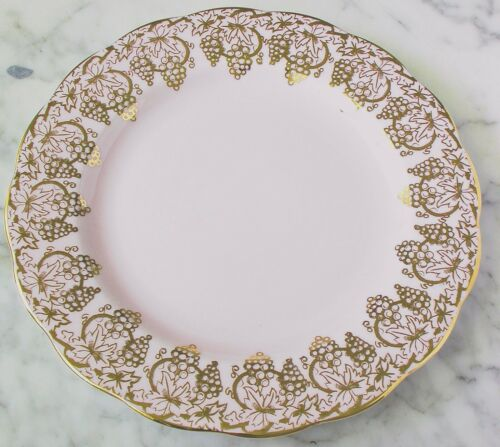 Vintage Royal Standard Fine Bone China Pink and Gold Grapevine Plate