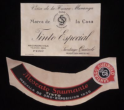 PERU 2x Magdalena Santiago Queirolo, red wine lable proof 1940s Moscato - Wine Lables