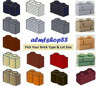 LEGO - 1x2 Bricks Modified Lots - PICK YOUR BRICK & COLORS - Masonry Grille Log
