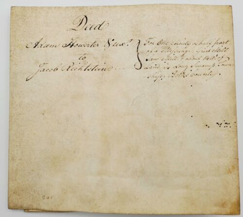 1795 Pennsylvania Land Deed/Vellum Indenture: Longswamp Township, Berks County