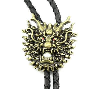 Asian Dragon Head Western Cowboy Rodeo Bronze Plated Leather Neck Bolo Tie](Asian Cowboy)