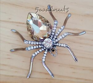 Champagne Gunmetal SPIDER Brooch Pin Rhinestone Crystal Diamante Bling Jewellery
