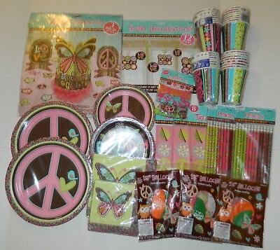 Y PARTY Lot for 16 Swirl DECORATIONS Tableware BALLOONS ++ (Hippie Chick Birthday)