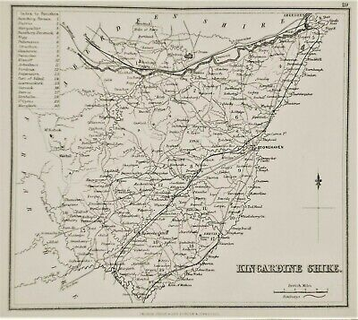 OLD ANTIQUE MAP KINCARDINESHIRE SCOTLAND c1870's by GEORGE PHILIP & SON