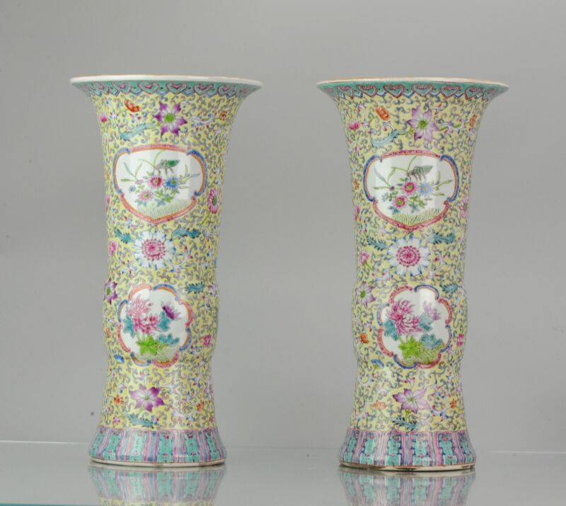 PAIR China 20th century Famille Rose South East Asian Market Vases Chine...