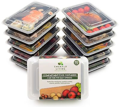 [10 pack] 1 Compartment BPA Free Meal Prep Containers with lids. (38 oz/1.1L)