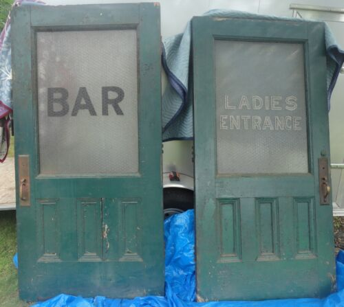 Pair of Antique Speakeasy/Bar Doors,Chicken Wire Windows, BAR & LADIES ENTRANCE