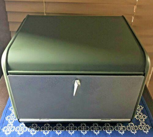 1950s Retro KITCHEN COLLECTIBLE Metal Bread Box Restored Two Tone Avocado Silver