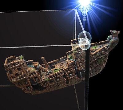 Aquarium Deko magnetisches 🍀 2-teilige SCHIFFSWRACK 🍀 Höhle Dekoration Zubehör ()