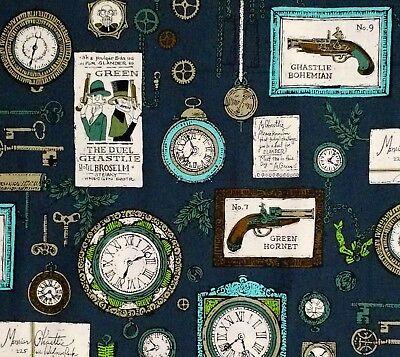 Alexander Henry A Ghastlie Duel Steampunk Victorian Clockwork Gear Cotton Fabric A Bed Geometric Curtain