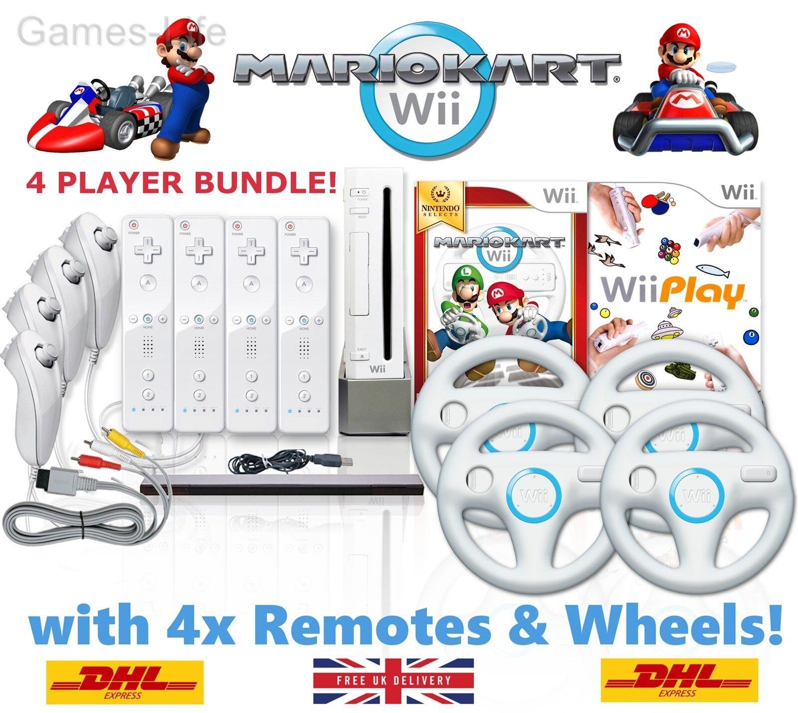 Wii console mario kart 4 player bundle 4 remotes 4 wheels - Wii console mario kart bundle ...
