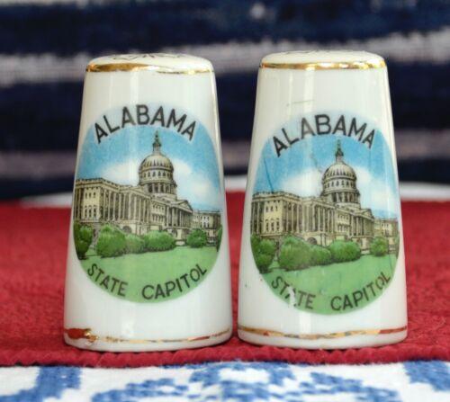 Vintage ALABAMA Salt & Pepper Shakers State Capitol Souvenir Gold Color Trim
