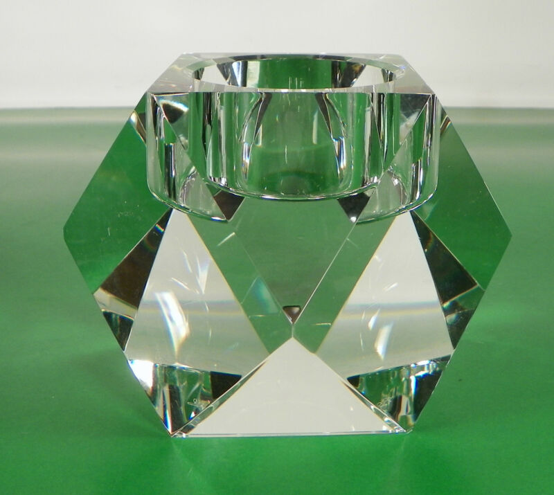 Rosenthal Crystal FACETED Votive Candle Holder Prisms Signed