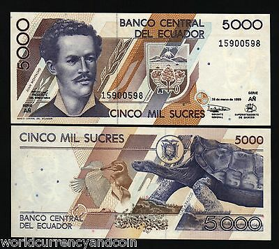 ECUADOR 5000 SUCRE P128 1999 CORMORAN UNC PENGUIN TORTOISE GALAPAGOS TURTLE NOTE, used for sale  Shipping to Canada