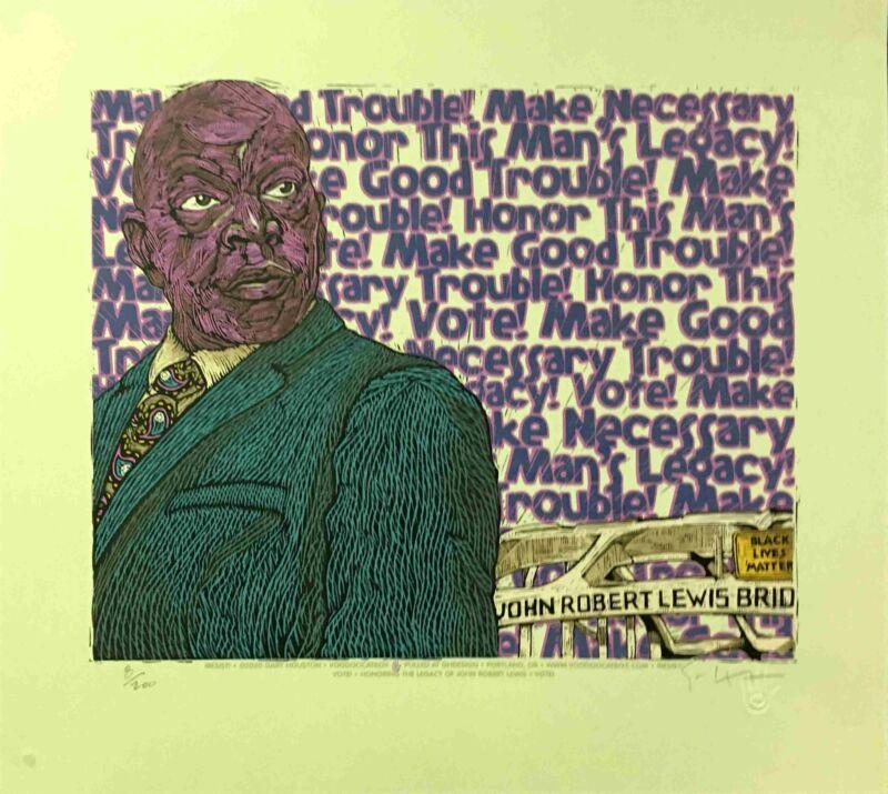 Congressman John Lewis Poster Good Trouble Portrait Hand-Signed Gary Houston COA