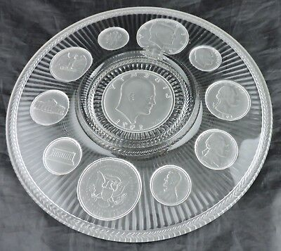 Vintage Imperial Glass John F. Kennedy Coin Ornate Frosted Glass Plate Cabinet
