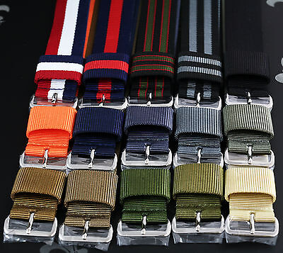 (USM US Military Watch Strap Band Wrap S/S Buckle Wide Keeper 15 Colours 3 Sizes)