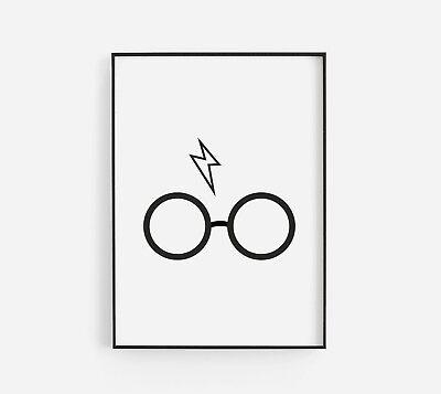 Harry Potter Styled Bolt Glasses Black & White Kids Room Wall Art Poster Print