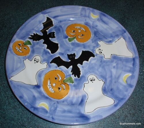 """13"""" Mesa International Halloween Collectible Plate With Pumpkins Bats and Ghosts"""