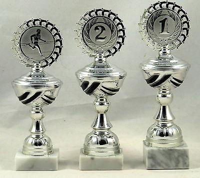 3er Serie Pokale in Silber/Schwarz 22 - 24 cm inkl. Gravur und Emblem E114