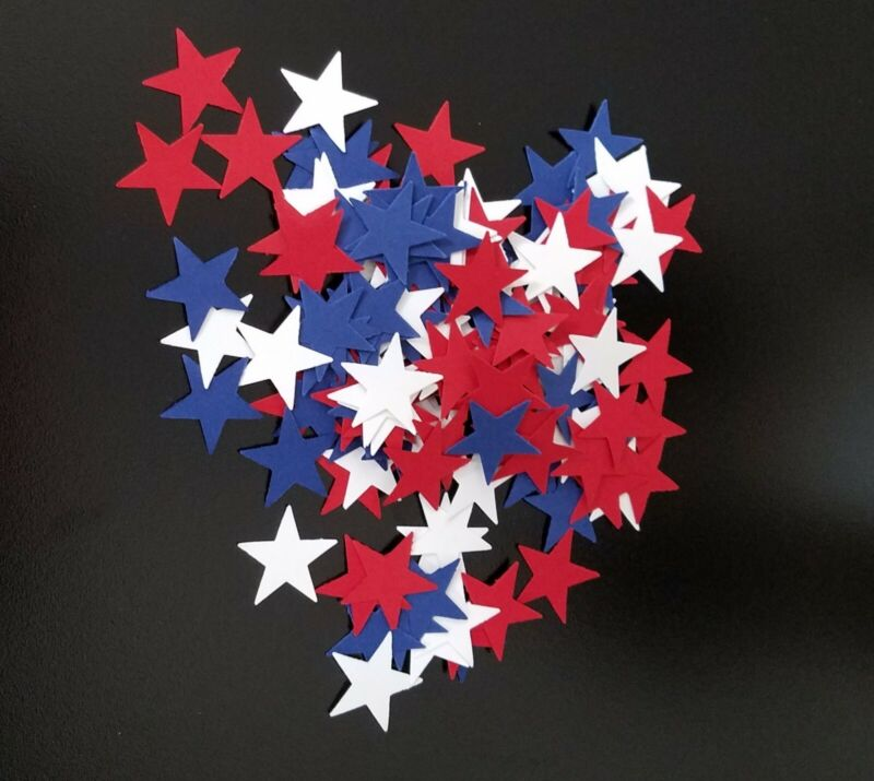 150 Red, White, and Blue Handmade Confetti Table Scatter Stars