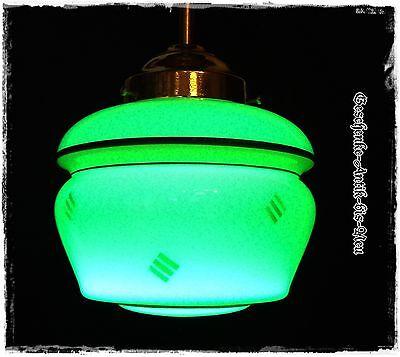 Uranglas (geprüft) Vaseline glass Alte Deckenlampe Art Deco restauriert