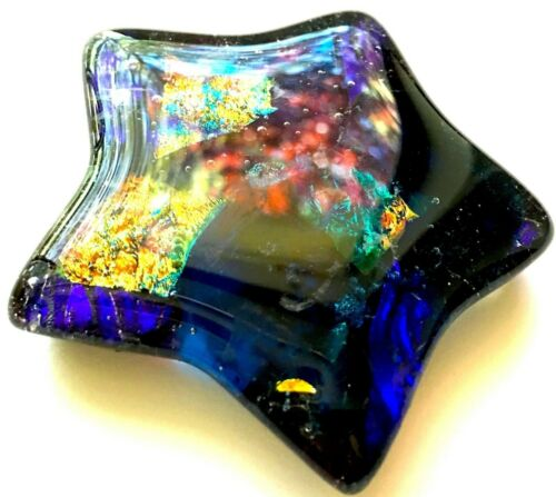 DICHROIC STAR ART GLASS - CABOCHON/PULL/KNOB/PMC/GIFT/TILE ........... SR/081914