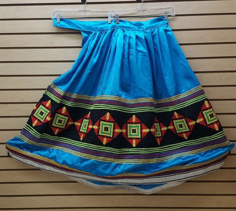 NICE BLUE SATIN HOMEMADE 3XL SEMINOLE NATIVE AMERICAN INDIAN PATCHWORK SKIRT