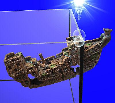 Aquarium Deko magnetisches ❤️ 2-teilige SCHIFFSWRACK ❤️ Höhle Dekoration Zubehör ()