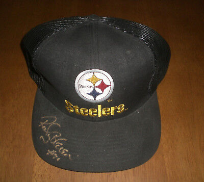 PITTSBURGH STEELERS ROCKY BLEIER SIGNED AUTOGRAPHED BLACK HAT W/COA