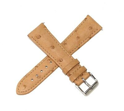 22MM Genuine Ostrich Leather Skin Watch Strap Band LIGHT BROWN - Steel Buckle