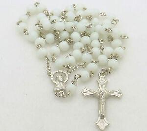 Catholic-Rosary-Bead-Necklace-White-Glass-Round-Beads