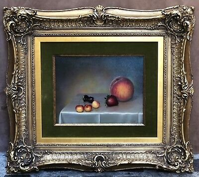 MAGNIFICENT O/C STILL LIFE FRUIT PAINTING BY TEIMOUR AMIRY CALIFORNIA ARTIST
