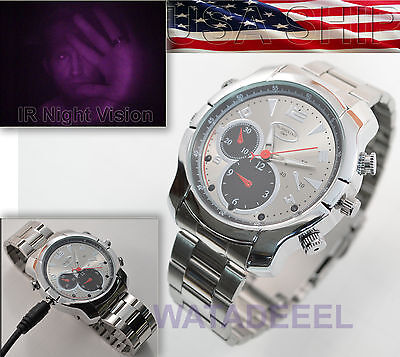 1080p Spy Watch Silver Spear Infrared Night Vision Camera DVR Video Audio IR LED