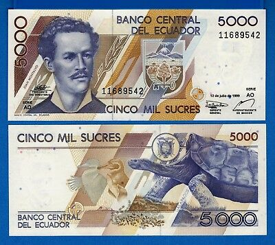 Ecuador P 128  5 000 Sucres Year 12 7 1999 Uncirculated Banknote