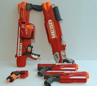 Nerf MEGA Gun Blaster Lot Of 5 Rotofury Doublebreach Magnus 2x Bigshock Tested