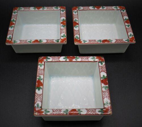 """Vintage Asian Rose Porcelain Sauce Dishes* Set of 3 * 4""""x4"""" * Signed * Excellent"""