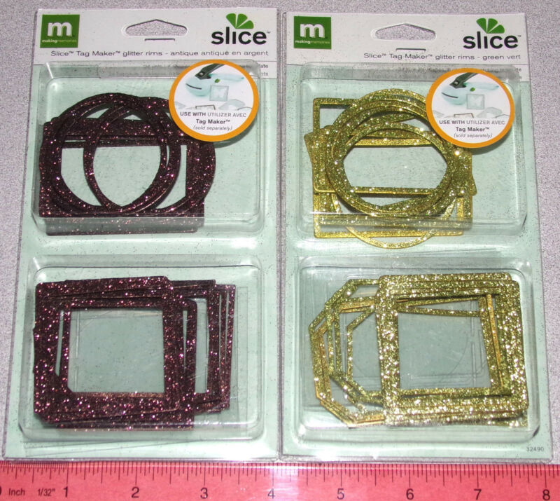 making memories Metal Slice Glitter Rim Tags or use for Frames and Borders New