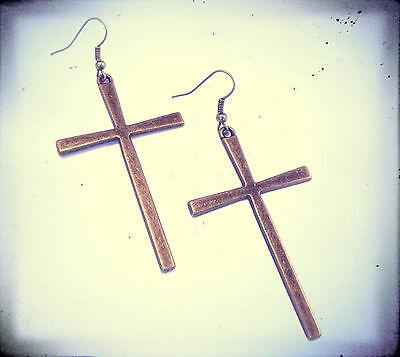 Large Antique Bronze Cross Earrings-Vintage Jewellery-Gothic Gold Stud Crosses