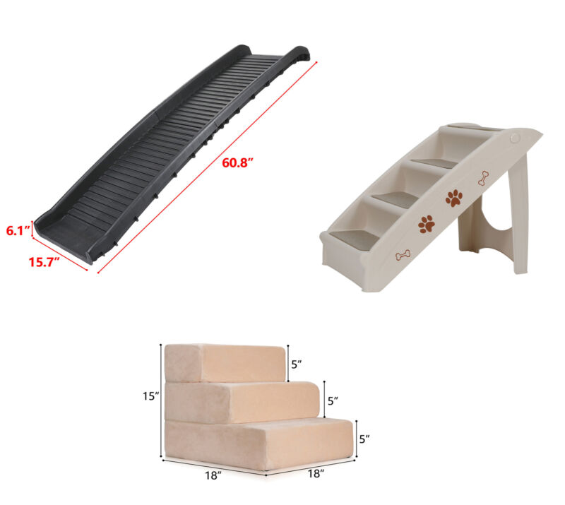 Multiple Sizes Pet Dog Stairs Ramp Climb Ladder Portable Light Weight Car Home